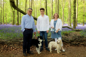 Alison Biggs occupational therapist with her family and two dogs